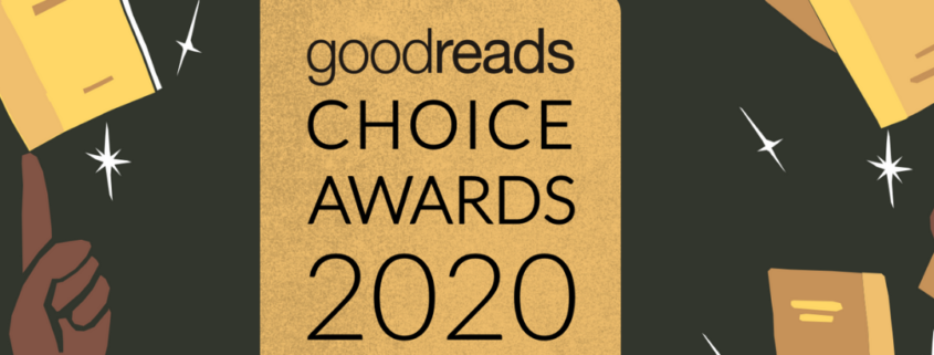 "black with gold highlights, central image reads ""Goodreads Choice Awards 2020. What were the best books of the year?"""